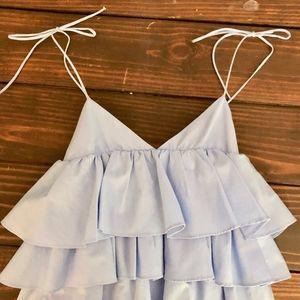 ZARA Tiered Ruffle Dress: Light Blue